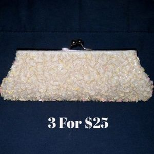 Moving Sale Blush Pink Clutch Sequin & Pearl #3096